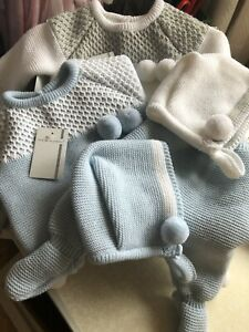 Spanish-Knitted-Baby-Boys-Romper-Jumper-Chunky-Newborn-Pom-Pom-Hat-3pc-Pram-Set
