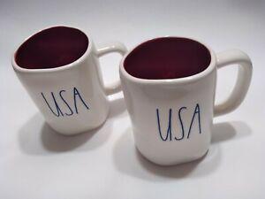 Rae-Dunn-USA-Mugs-2-Ivory-Red-Interior-amp-Black-Letters-USA-Brand-New-FREE-SHIP