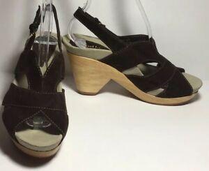 NWOB-Earthies-MONACO-Brown-Suede-Wood-Slingback-Open-Toe-Clog-Sandal-Heels-7-5