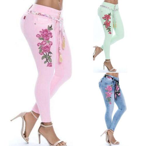 Damen Sommer Boho Blumen Skinny Jeans Jeggings Denim Stretch Schnürung Röhrehose