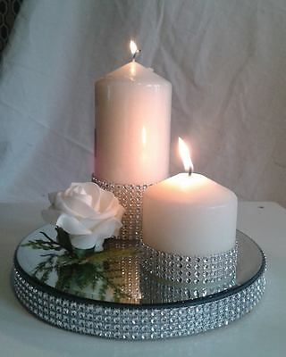 ROUND DIAMANTE MIRROR CANDLE CAKE PLATE  - TABLE CENTREPIECE  GIFT-  20cm