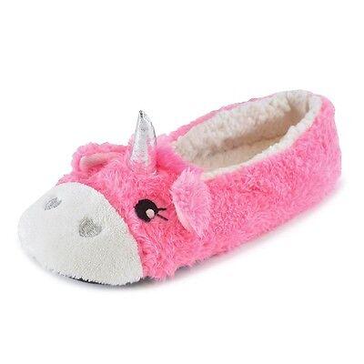 Damas Niñas 3D Unicornio Polar bajo Pantuflas Rosa Gris Talla 3/4 5/6 7/8