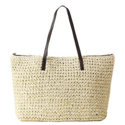 Women's Classic Straw Summer Beach Sea Bay Shoulder Bag Handbag Tote Purse