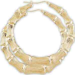 851bb583b 10K Huge Gold Round Bamboo Hollow Hoop Earrings 3 3/8 inches.   eBay