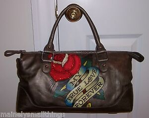 1bab209fa6ef New Ed Hardy Belle Fleurs LUCY Sm Tote Bag MY TRUE LOVE FOREVER ...