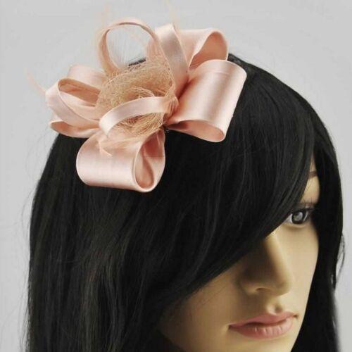 Nude Ladies Fascinators Mesh Feathers Clip Wedding Prom Ladies Day Races New