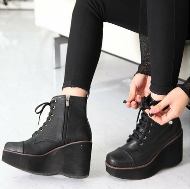 New damen Leather Platform High Wedge Heel Zip Lace Up Ankle Stiefel Stiefelies schuhe