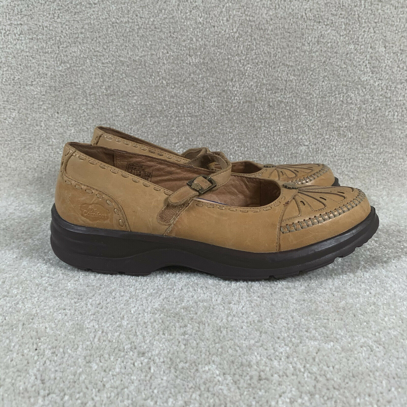 Dr. Comfort Size 9 M Diabetic Mary Jane Shoes Leather Tan / Brown