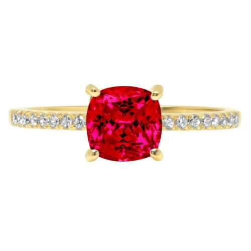Details about  /1.66 Cushion Ruby Stone Promise Bridal Wedding Designer Ring 14k Yellow Gold