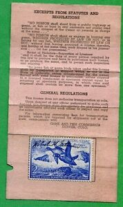 Colorado 1952 resident hunting fishimg small game license for Fishing license colorado