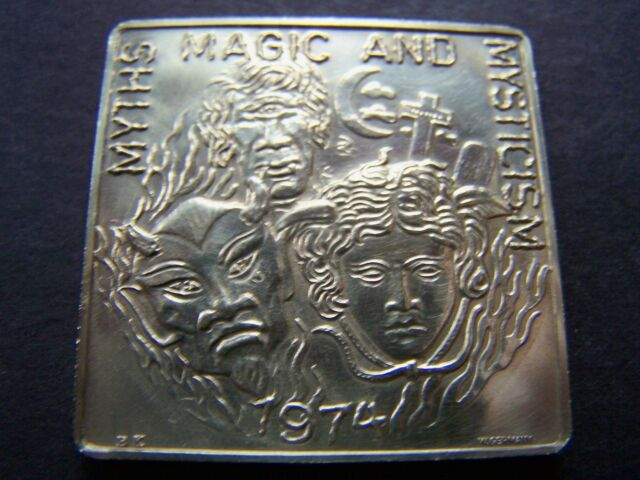 1974 Hercules MYTHS MAGIC AND MYSTICISM Multi-Color Square Mardi Gras Doubloon
