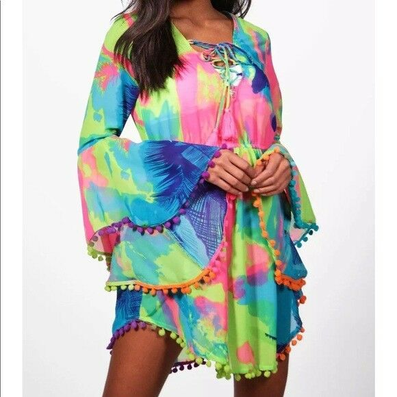 B NEW BOOHOO Tropical WEDDING BEACH KIMONO KAFTAN DRESS WORLDWIDE SOLD- OUT