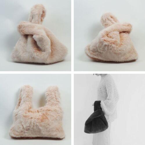 Cross Body Shearling Womens Ladies Faux Rabbit Fur Handbag Purse Tote