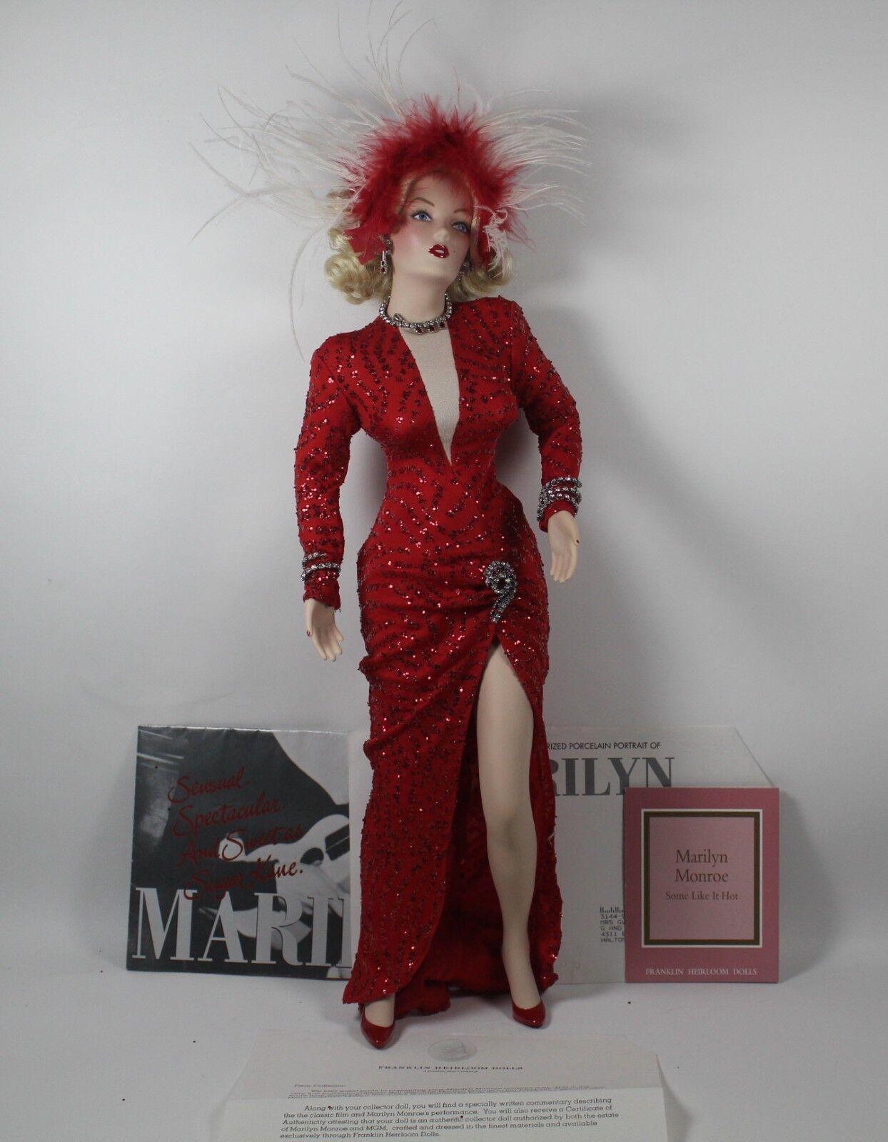 Marilyn Monroe     Franklin reliquia muñecas Los Caballeros las rubias prefieren Vestido Rojo