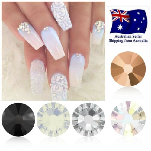 Swarovski 50 x MIXED Clear AB Rose Gold Jet Opal Crystals GLUE ON Nail Art