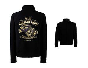 Veste-Sweat-shirt-noir-v8-Hot-Rod-US-Car-amp-039-50-Style-Motif-Modele-Vintage-Iron