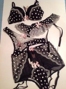 05cd283369 Victoria s Secret Push Up Bra Panty Garter Stockings Set Polka Dot ...