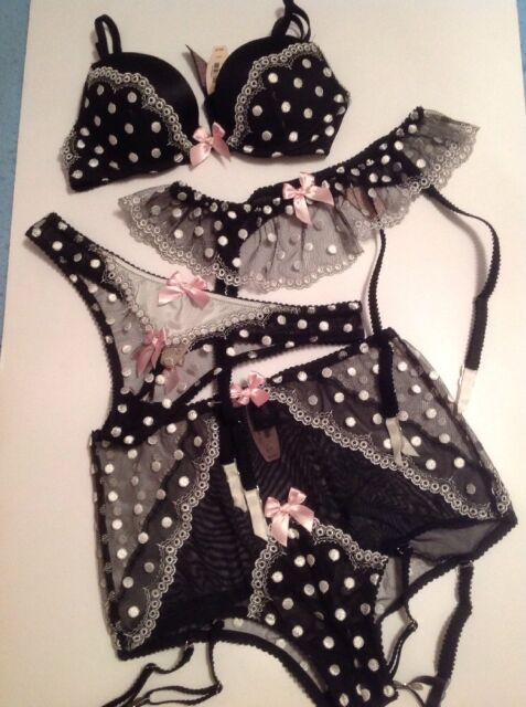 6839d76c58 Victoria s Secret Push up Bra Panty Garter Stockings Set Polka Dot ...