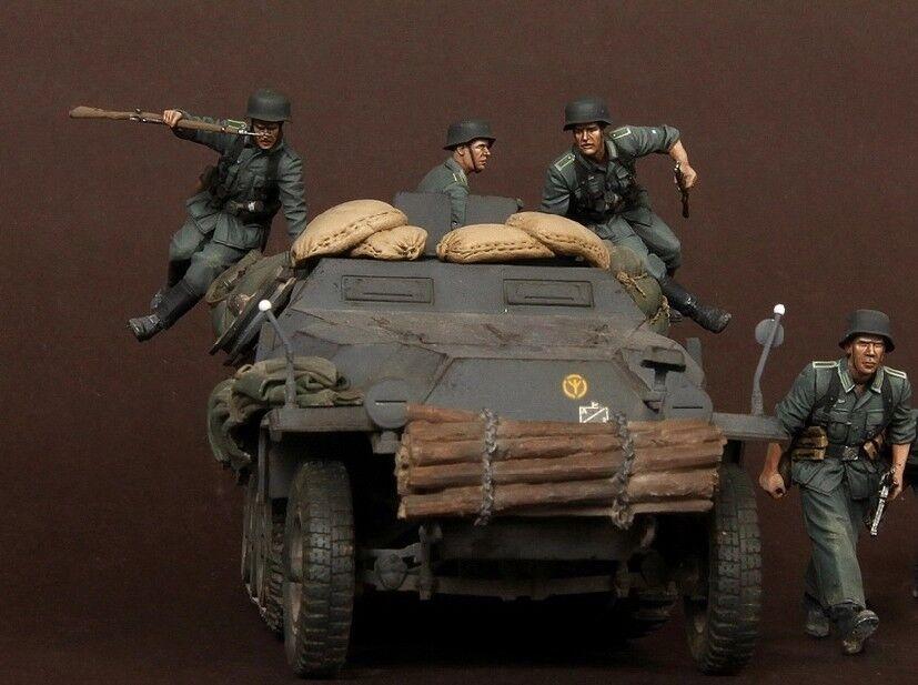 1  35 skala hkonsts Figur modelllllerlerl Kit WWII Tyska panskonstrupper (4 Figures)