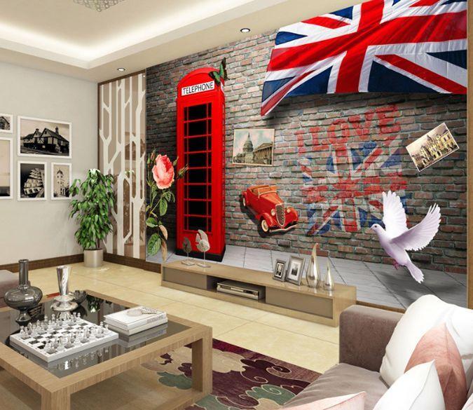 3D Anglais.Drapeau Photo Papier Peint en Autocollant Murale Plafond Chambre Art