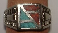 Genuine Turquoise & Coral Inlay Design Rings 1980's Sizes 8 -12 Tt31