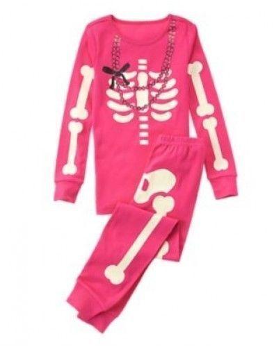 NWT Gymboree SKELETON Halloween Costume 2016 Pajamas//Gymmies Glow-In-The-Dark