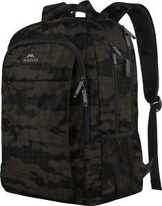 "Matein Men's Camo 15.6"" Anti-Theft Travel Laptop Backpack School Bag USB Port"