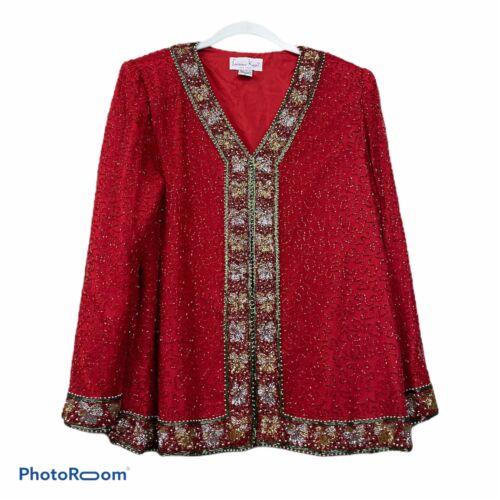 Vintage Laurence Kazar Womens Red Silk Beaded Sequ