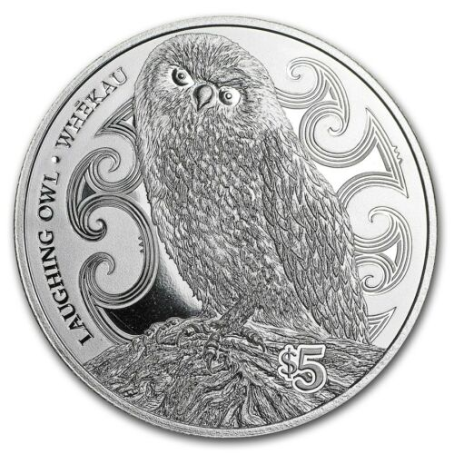 2017 New Zealand Whekau! Silver $5 Proof Coin- 1 OZ Laughing Owl