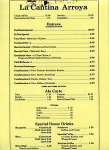 Older Restaurant Menu - La Cantina Arroya - Nice Condition - Tacos, 85 cents