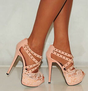 NUDE-LACE-STRAPPY-STUDS-STILETTO-PLATFORMS-HIGH-HEELS-PARTY-PROM-SHOES-SIZE-3-8
