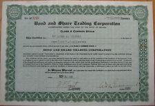 'Bond & Share Trading Corporation' 1936 Stock Certificate - Nevada NV
