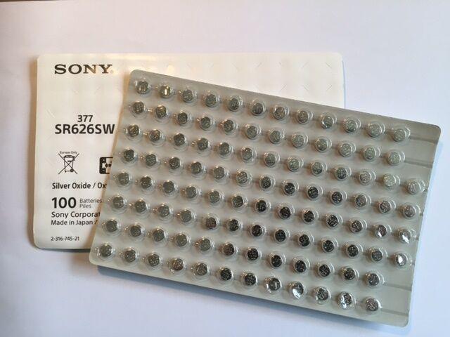 100 x Sony 377 Knopfzelle Uhrenbatterie V377 SR626SW SR 66 - lose bulk | Vogue