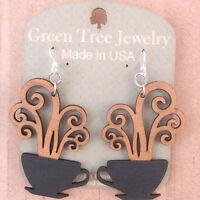 Coffee Cups Green Tree Jewelry Black/tan Laser-cut Wood Earrings Made-usa 1309