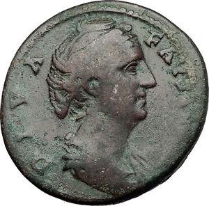 Faustina-I-146AD-Big-Rare-Sestertius-Ancient-Roman-Coin-Immortality-Cult-i59020
