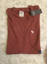 abercrombie and fitch mens small top pocket t shirt tee summer red S small Pink