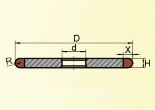 "150mm 6/"" Straight Arc Diamond Grinding Wheel Grit 150 Select Radius 1mm 5mm"