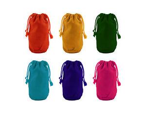 12pk Bright Color Canvas Sacks Rectangle Shape Drawstring Bags Art Party Favor
