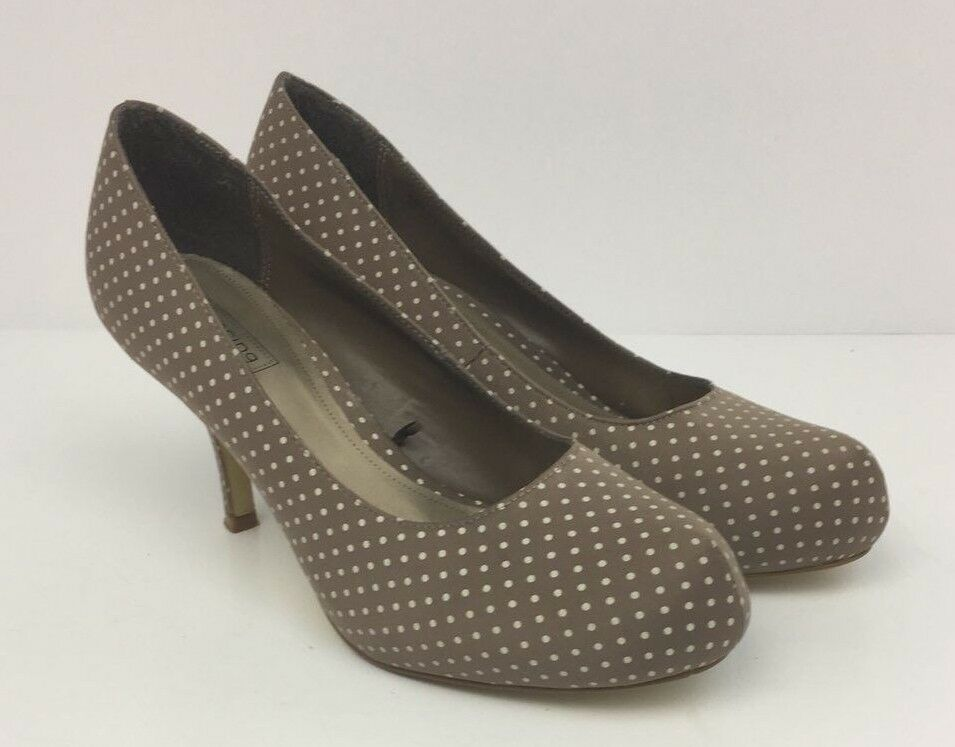 RED HERRING Womens Silk Polka Dot Beige Low Heel Court shoes Size UK 6