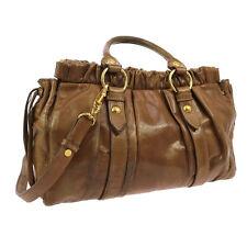 Authentic MIUMIU Logos 2way Hand Bag Brown Gold Leather Vintage Turkey M11573b