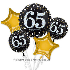 Image Is Loading Happy 65th Birthday Bouquet 5 Foil Helium Balloons