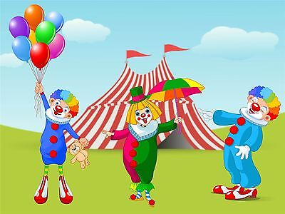 ART PRINT POSTER NURSERY CIRCUS CLOWNS FUNNY BALLOONS TENT KIDS BEDROOM LFMP0782