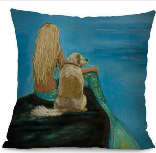 Pretty Mermaid Print Cotton Linen Cushion Waist Cover Home Decor Pillowcase Gift