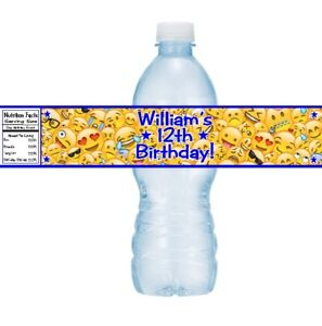 12 Emoji Emoticons Birthday Party Baby Shower Water Bottle Stickers Labels Favor