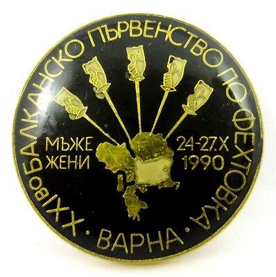 1990 BALKAN FENCING CHAMPIONSHIP IN VARNA/BULGARIA  BADGE PIN RARE
