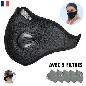 Protection Anti Pollution & Poussière - Avec CINQ Filtres, Lavable, Noir