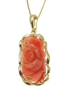 GENUINE-NATURAL-PINK-CORAL-CARVED-FLOWER-PENDANT-ENHANCER-SOLID-14K-YELLOW-GOLD