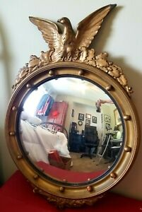 Vintage-Federal-Eagle-Convex-Bullseye-Gold-Mirror-13-Colonies