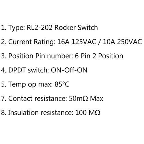 RLEIL RL2-202 Wasserdicht IP65 Boat Car Rocker Schalter ON-Off-ON 6Pi 125//250V H