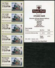 SWINDON STEAM GWR MUSEUM + LOGO LOCOMOTIVE COLL SET POSTAL RATES ERROR POST & GO